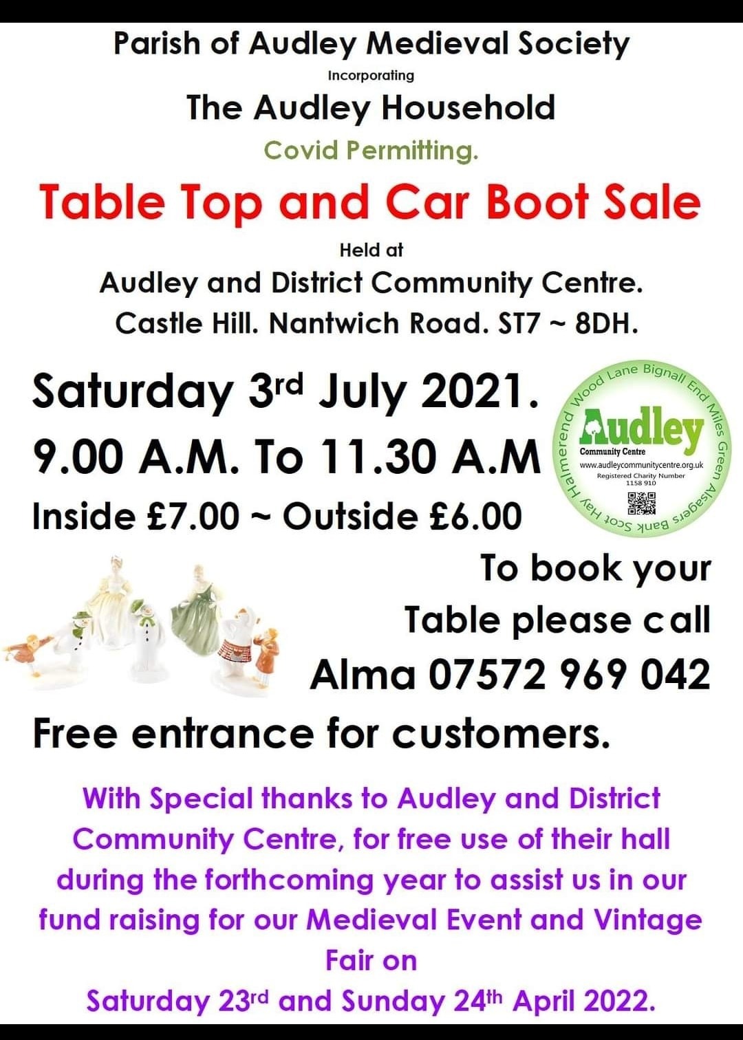 Local and live Table top and car boot sale